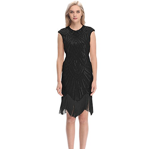 Pilot-trade Women's 1920's Dress Flapper Vintage Great Gatsby Charleston Party Dress (X-Large, Black)
