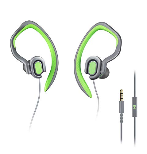 MUCRO HD Stereo Comfortable Wired Sports Headphones with Detachable Earhook, Sweatproof Earphones with Microphone for Gym Workout Running, in Ear Earbuds for Samsung Huawei Android Phones (Green)