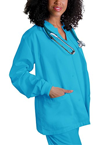 (Adar Universal Round Neck Warm-Up Jacket (Available in 39 Colors) - 602 - Turquoise - S)
