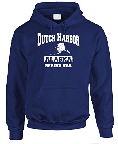 Dutch Harbor Sweatshirt (DUTCH HARBOR BERING SEA - alaska crab fish - Mens Pullover Hoodie, 2XL, Navy)