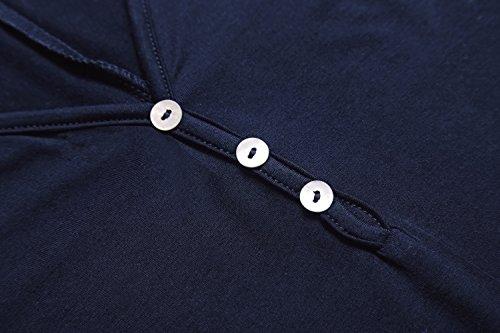 Marino Tops Orlo Svasato Bottoni Donna Con A Mini Mezze Tunica Maglietta Blu Urban Vestito Maniche Casual Goco 0qwS8Aa
