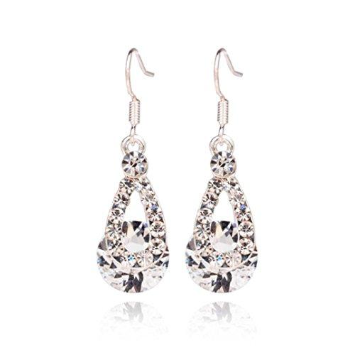 Voberry Fashion Women Big Crystal Pendant Fashion Long Paragraph Brilliant Drop Dangle Earrings (White)