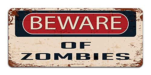 Print Crafted - Beware of Zombies - Vintage Metal Sign | Halloween Decor | Bedroom, Man Cave Door Sign ()