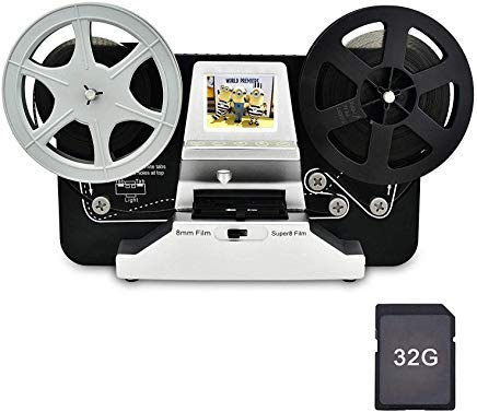 8mm Roll Film & Super8 Roll Film Reels(5''&3'') Digital Video Scanner and Movie Digitizer with 2.4'' LCD, Black (Film2Digital MovieMaker) with 32 GB SD Card by eyesen
