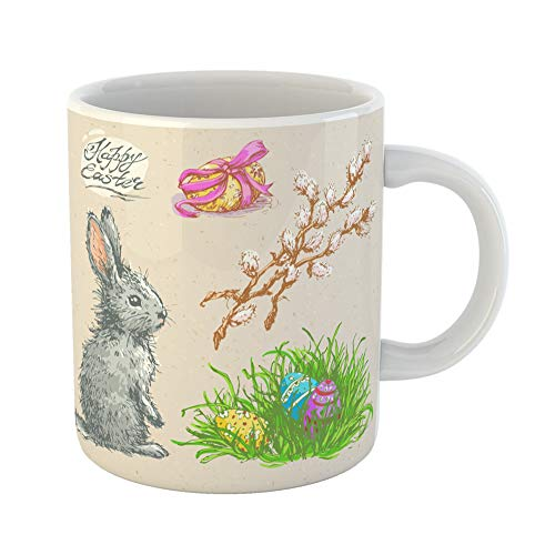 ug Gift 11 Ounces Funny Ceramic Colored Sketches Easter Rabbit Eggs in Grass and Pussy Willow Twigs Vintage Gifts For Family Friends Coworkers Boss Mug ()