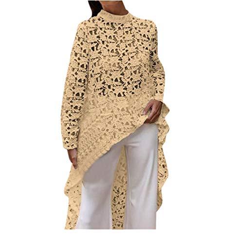 Franterd Women Lantern Long Sleeve Lace Hollow Out High Low Asymmetrical Irregular Hem Casual Tops Blouse Shirt Dress Yellow