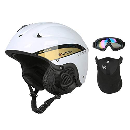 CE Certified Multi Sport Adult Bike and Skateboard Helmet - Men Women Ice Snow Skating Cycling Motorcycle Safety Helmet - Head Protector Cap - White M