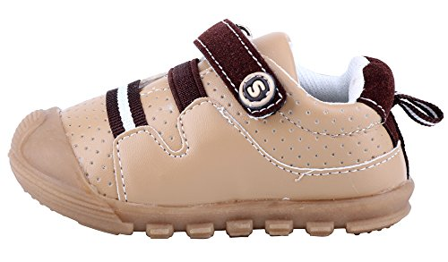 LONSOEN Baby Boys and Girls Anti-Slip Walking Shoes Toddler Athletic Sneaker BAY001 Brown CN19 by LONSOEN (Image #2)