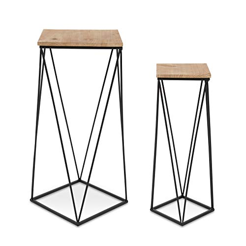 Kate and Laurel Gabriele Metal Accent Nesting Tables with Natural Wood Top and Black Base, Set of 2