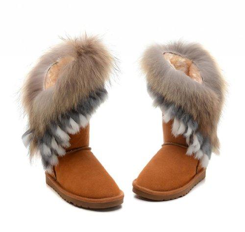 5499d04280e Women's Indian Style Fox Fur Tall Boots - W8, Maroon - Buy Online in ...