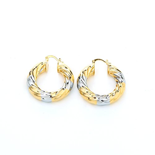 African 24K Gold Platinum Plated Two Tone Round Twisted Hoop Earring Jewelry Women Thick Size Earrings (G28)