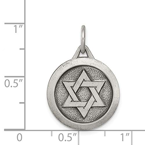 Sterling Silver Engravable Antiqued Star of David Medal ()