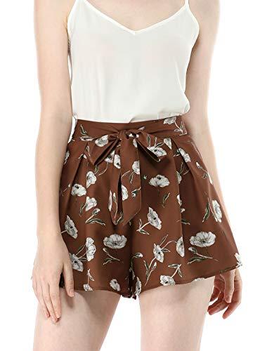 Allegra K Women's Floral Print Elastic Tie High Waist Culottes Beach Summer Shorts Brown M (US 10)