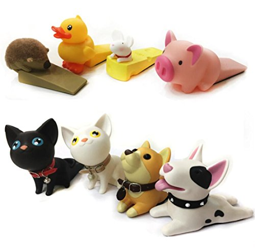 Cute Cat Dog Door Stopper Wedge Non-slip Non-scratching Baby Child Safety doorstop works on all floor surfaces (Black Dog B) by Semikk (Image #2)