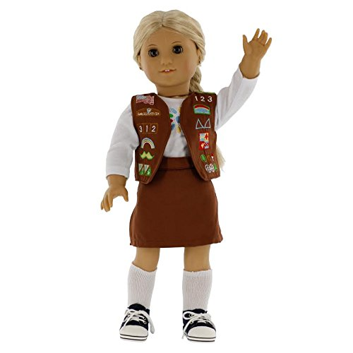 Dress Along Dolly Brownie Girl Scout Inspired Doll Outfit for American Girl and 18