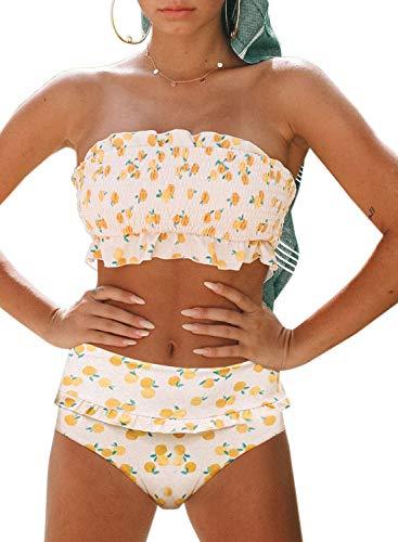 (Eytino Women Printed Strapless Shirred Smocked High Cut Bandeau Two Pieces Bikini Set Swimsuit,Medium White)