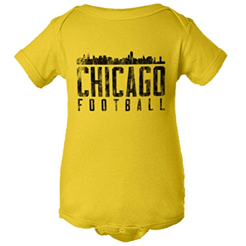 PleaseMeTees Baby Chicago Football Distressed Bears Skyline HQ Jumpsuit-Yel-24M ()