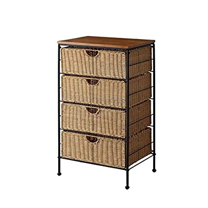 Superbe Metal Frame Storage Drawer With Rustic Design   4 Drawer Storage Chest With  Wicker Baskets