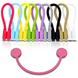 TwistieMag Strong Magnetic Silicone Twist Ties - Multi Color 10 Pack for Men & Women - Unique Gadgets for Cable…