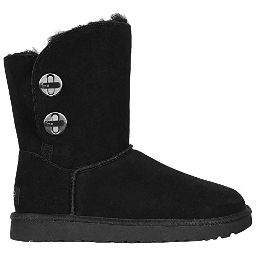UGG Womens Classic Short Turnlock Boot, Black, Size 8