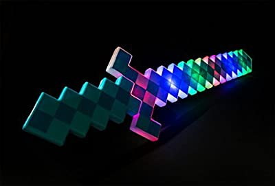 24 inches DIAMOND Pixel Sword 8 Bit Deluxe STYLE with LED Light up Toy and FX Sounds PLASTIC