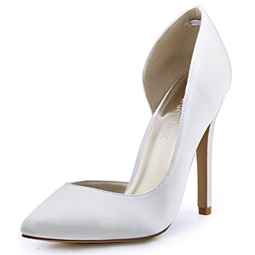 ElegantPark HC1601 Women's Pointed Toe High Heel D'Orsay Pumps Satin Wedding Dress Shoes Ivory US 7
