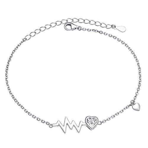 - LINLIN FINE JEWELRY Heartbeat Bracelet 925 Sterling Silver EKG Cute Life Line Heartbeat Love Cardiogram Bracelet Gift for Women Girls(7+2 inch)