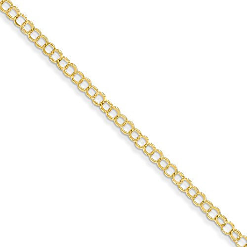 (14K Yellow Gold Solid Double Link Charm Bracelet)