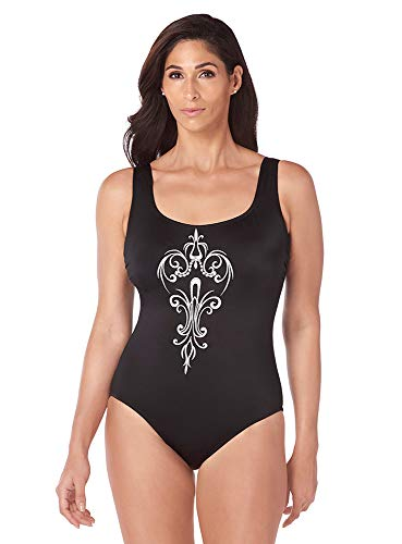 Longitude Chandelier Embroidery U-Back Tank One Piece Swimsuit with Soft Cup Bra and Scoop Neckline, Black White, 14 - One Longitude Piece