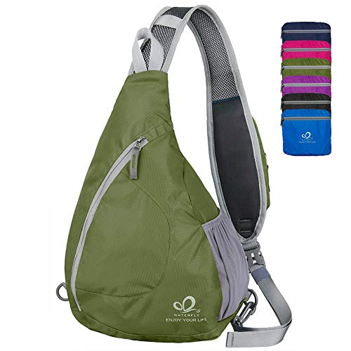 WATERFLY Sling Chest Backpacks Bags Crossbody Shoulder Triangle Packs Daypacks for Cycling Walking Dog Hiking Boys Girls Men Women, Olive]()
