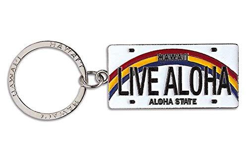 (Welcome to the Islands Hawaiiana Keychain Metal License Plate Live Aloha)