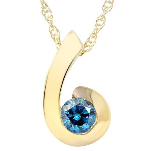 1/4ct Yellow Gold Blue Diamond Bezel Solitaire Pendant 1/4 Carat Blue Diamond Solitaire