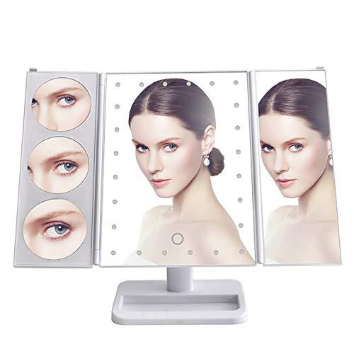 COMLIFE Espejo de Maquillaje Plegable de Tres Pliegues Ajustable 180°3X/ 5X/ 10X Lupas Iluminadas con 24 Luces LED, Espejo...