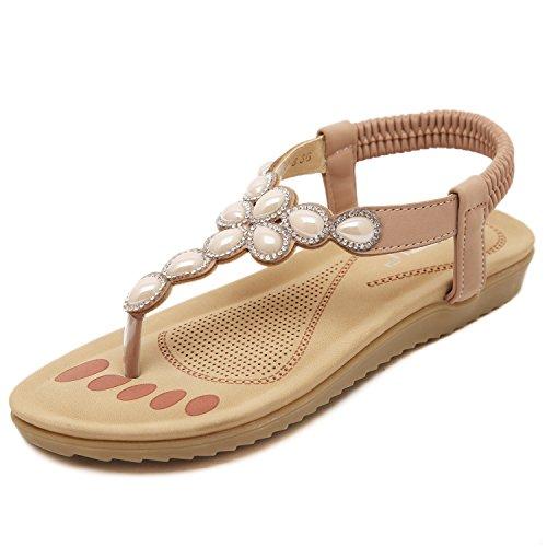 Beaded Sandal Women's Strap DQQ apricot Bohemian Snkle 70xUXwwEq