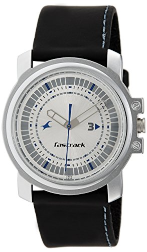 Fastrack Men's 3039SL01 Casual Black Leather Strap Watch
