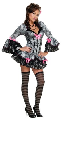 Secret Wishes  French Kiss Costume, Black/Grey, Small -