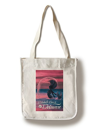 Rehoboth Beach, Delaware - Silhouette Mermaid Hairflip at Dusk (100% Cotton Tote Bag - - Shopping Beach Rehoboth