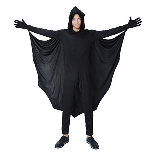 MIS1950s Halloween Cloak Masquerade Party Hooded Tops Novelty Bat Jumpsuits Long Robe Cosplay Costumes for Men (Black,