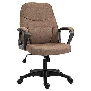 Chaise de bureau fauteuil bureau massant pivotant hauteur réglable tissu lin marron