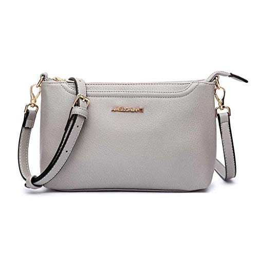 Crossbody Bags for Women, Lightweight Purses and Handbags PU Leather Small Shoulder Bag Satchel with Adjustable Strap (GREY) (Leather Purses And Handbags)