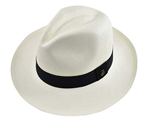 Genuine Hat Panama - Original Panama Hat - White Classic Fedora - Black Band - Toquilla Straw - Handwoven in Ecuador (XXLarge | 62cm)
