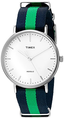 (Timex Weekender Fairfield | Blue/Green Strap Minimal Dial Casual Watch TW2P90800)