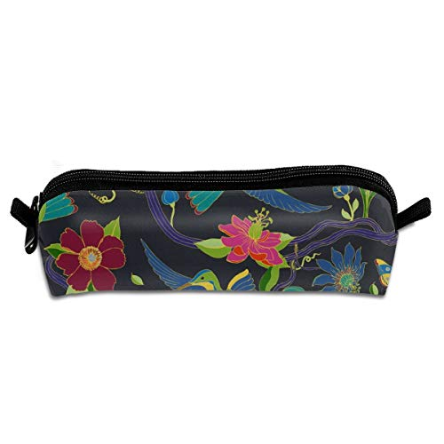 - Hummingbirds and Passion Flowers Cloisonne Students Canvas Pencil Case Pen Bag Pouch Stationary Case Makeup Cosmetic Bag 21 X 5.5 X 5 cm