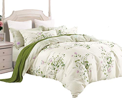 Swanson Beddings Graceful and Reversible Floral Print 3-Piece 100% Cotton Bedding Set: Duvet Cover and Two Pillow Shams (King) ()