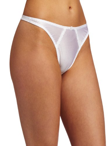 Carnival Womens Satin Thong Panty, White, Large