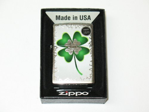 "Zippo ""4 Leaf Clover"" Brushed Chrome Lighter, 3501"