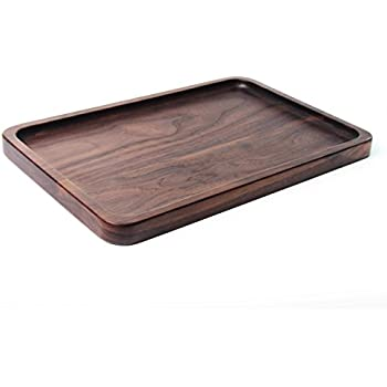 signstek black walnut wood rectangular tableware serving tray decorative trays platters for teacoffee wine red cocktailmealsfruit serving - Decorative Serving Trays