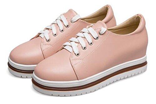 Showhow Dames Casual Ronde Neus Laag Boven Hoogte Middelhoog Sleehak Platform Fashion Sneakers Roze 1