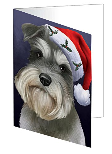 Christmas Schnauzers Dog Holiday Portrait with Santa Hat Greeting Card (10)