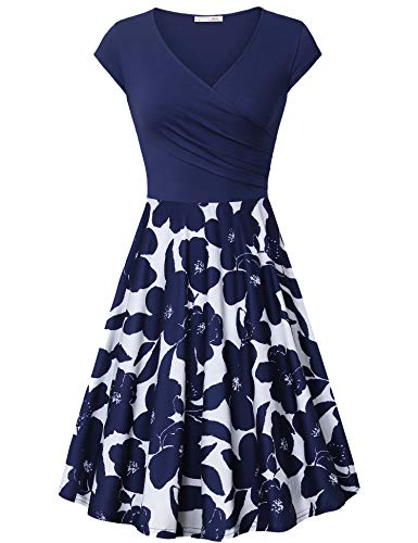 - Messic Women's Cross V Neck Dresses Cap Sleeve Elegant Flared A Line Dress Multicolor Blue Medium